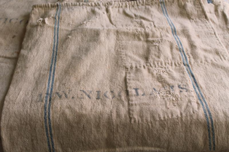rustic vintage cotton grain sacks, blue & brown stripe feed bags patched primitive antique fabric