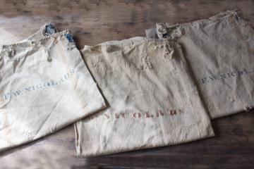 rustic vintage cotton grain sacks, coffee brown stripe feed bags patched primitive antique fabric