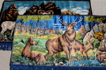 rustic vintage deer & mountain goat wall hangings, fringed plush carpet tapestry pictures