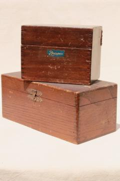 rustic vintage dovetailed wood boxes, recipe card file & antique kitchen stove tool box