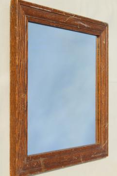 rustic vintage farmhouse mirror, square solid oak wood frame w/ original antique glass
