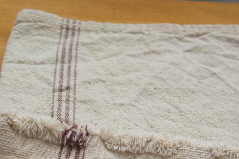 rustic vintage grain sack, brown stripe natural cotton fabric w/ heavy homespun texture