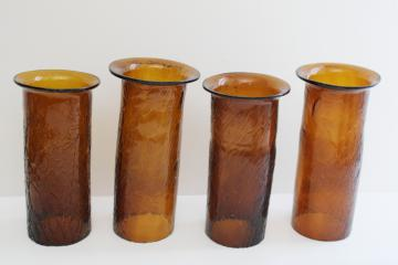 rustic vintage hand blown glass hurricane shades for lamp or candles, amber crackle glass