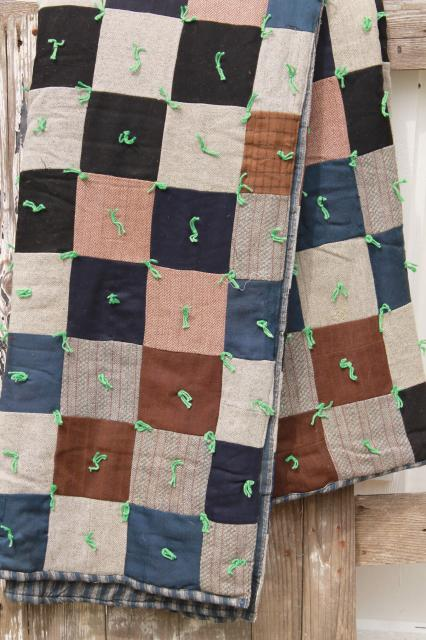 rustic vintage primitive cabin camp style patchwork quilt blankets, old wool quilts