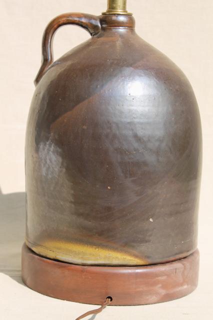 rustic vintage primitive table lamp w/ big brown jug ...