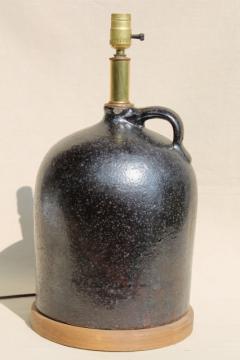 rustic vintage primitive table lamp w/ big brown jug, antique stoneware crock bottle