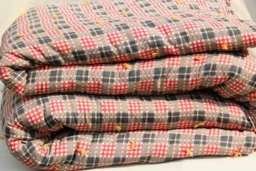 rustic vintage red plaid print cotton covered wool filled comforter or tied quilt