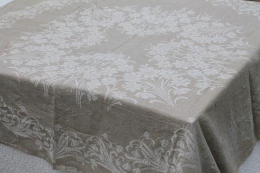 Rustic Vintage Washed Linen Tablecloth French Brocante