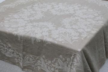 rustic vintage washed linen tablecloth, french brocante white daffodils jacquard on natural flax