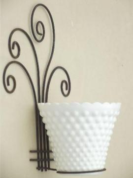 rustic vintage wire flower pot holder, pot rack w/ milk glass planter