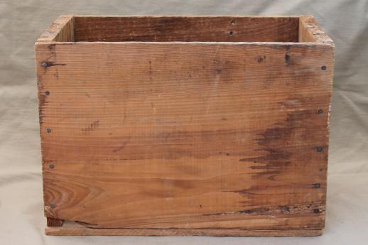 Rustic vintage wood crate old american window glass for Old wooden crates