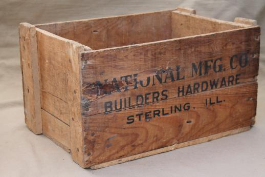 Rustic Vintage Wood Crate Old Box From Builders Hardware Sterling Illinois