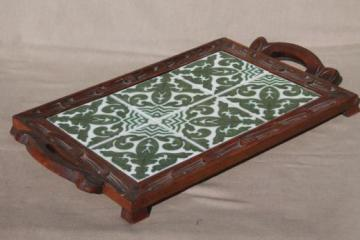 rustic vintage wood tray with Talavera style Mexican pottery tiles