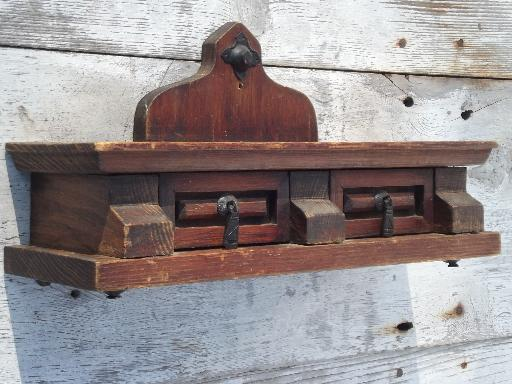 rustic vintage wood wall box shelf with drawers, handmade in Mexico