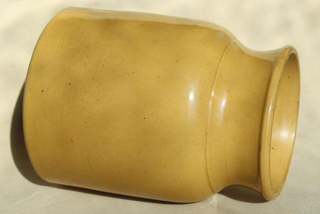 rustic vintage yellow ware pottery crock, large jar vase or kitchen spoon holder