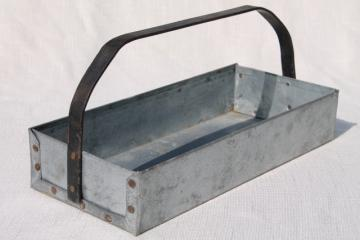 rustic vintage zinc metal tool box carrier tote tray w/ handle, farmhouse industrial style