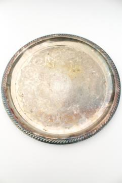 rustic wedding cake plate, large round tray tarnished silver over brass, vintage serveware