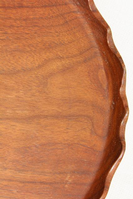 rustic wood cake plate or serving tray vintage carved wooden lazy susan w scalloped edge