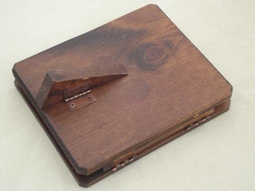 rustic wood frame easel stand photo album, vintage Hunting Memories book