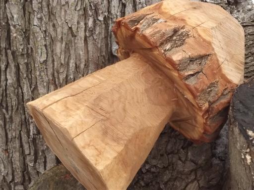 Rustic wood log mushroom garden ornament chainsaw carving hand