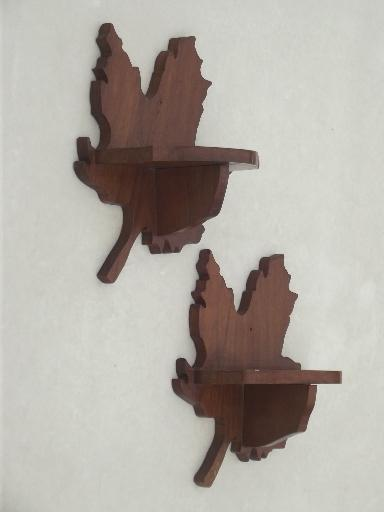 rustic wood wall shelves, autumn leaf maple leaves whatnot shelves