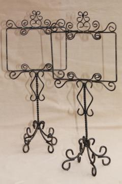 rustic wrought wire sign holder stands for wedding tables, postcards or store display signs