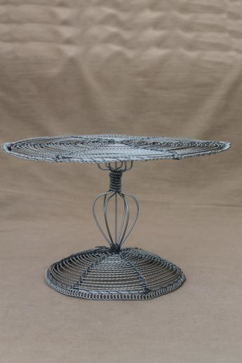 rustic zinc wire cake stand, dessert pedestal server for a cake plate