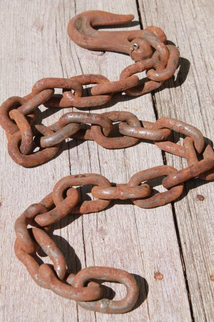 rusty iron chain yard long w/ heavy forged hook  rustic industrial vintage tool