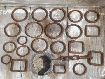 rusty old iron hardware lot, primitive antique harness rings collection