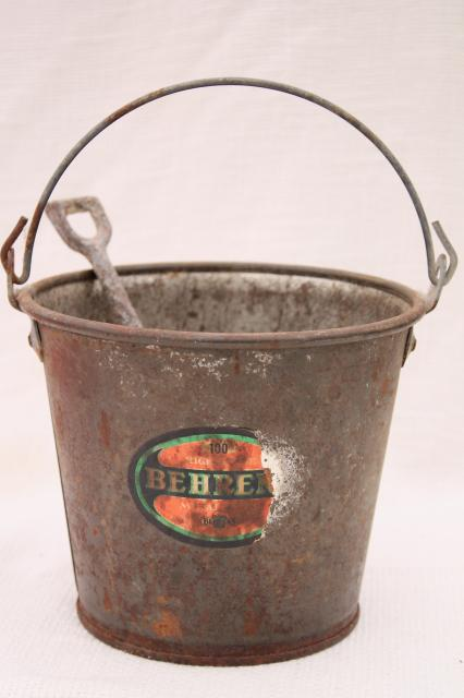rusty old little bucket, primitive vintage sand pail & toy shovel