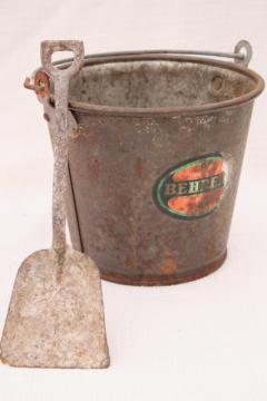 rusty old little bucket, primitive vintage sand pail & toy shovel