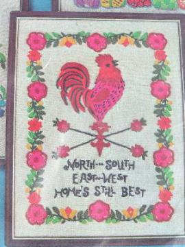 sampler kit w/ yarns, Home is Best, red rooster