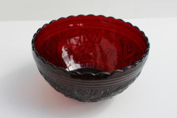 sandwich pattern glass royal ruby red glass scalloped bowl, vintage Anchor Hocking
