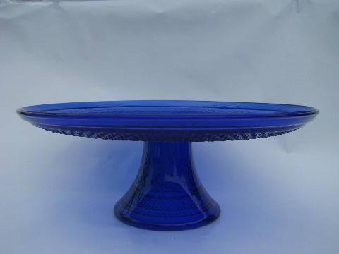 sapphire blue Wexford pattern glass cake stand plate without cover