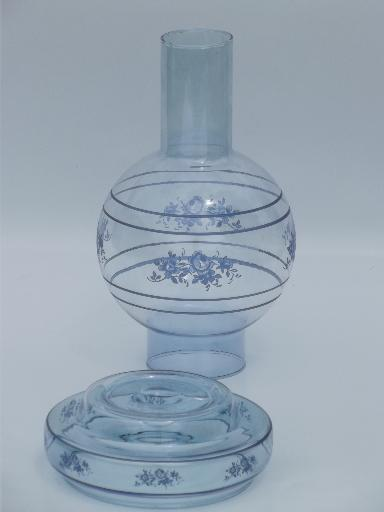 Sapphire Blue Glass Candle Lamp Hurricane Shade Amp Taper Candle Holder