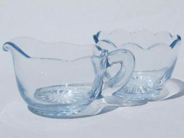 scallop edged small cream & sugar set, old pale blue elegant glass