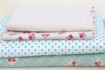 scrap lot vintage cotton feedsack & fabric, polka dots, print plisse, dotted swiss