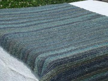sea and sky blue and grey shades throw blanket, soft fuzzy crochet afghan