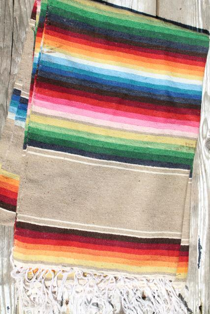 Serape Stripes Vintage Saltillo Mexican Indian Blanket Rug