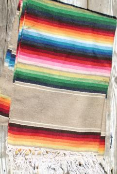 serape stripes vintage Saltillo Mexican Indian blanket rug, southwest style