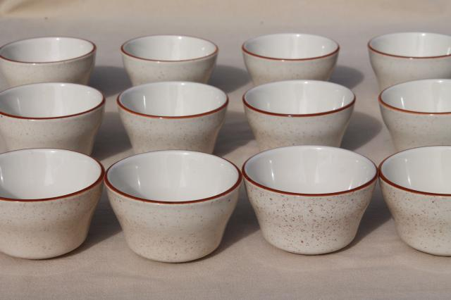 set 12 new old stock stoneware custard cups, oven proof baking dishes or tiny bowls