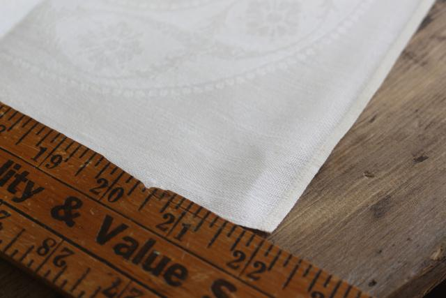 set 12 unused vintage pure linen LARGE dinner napkins, double damask fabric