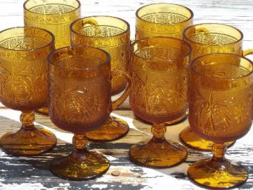 set 8 tall mugs, vintage amber sandwich glass daisy Tiara footed cups