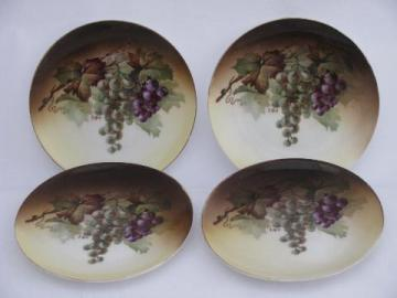 set antique hand-painted Bavaria china plates, purple grapes on amber