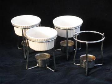 set individual warming stands to hold candles & china ramekins for fondue etc.