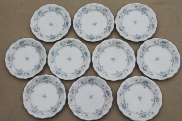 set of 10 Blue Garland china bread & butter plates, vintage Bavaria mark Johann Haviland