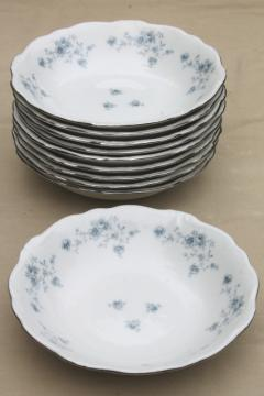 set of 10 Blue Garland china cereal or soup bowls, vintage Bavaria mark Johann Haviland