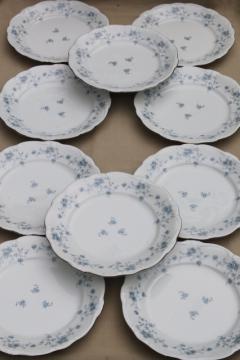 set of 10 Blue Garland china dinner plates, vintage Bavaria mark Johann Haviland