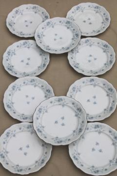 set of 10 Blue Garland china salad plates, vintage Bavaria mark Johann Haviland