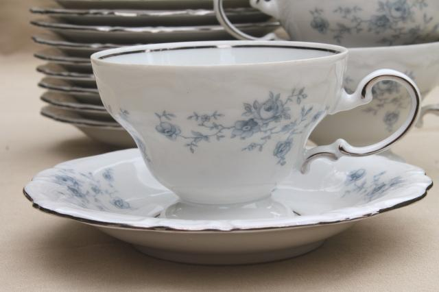 set of 10 Blue Garland china tea cups and saucers, vintage Bavaria mark Johann Haviland